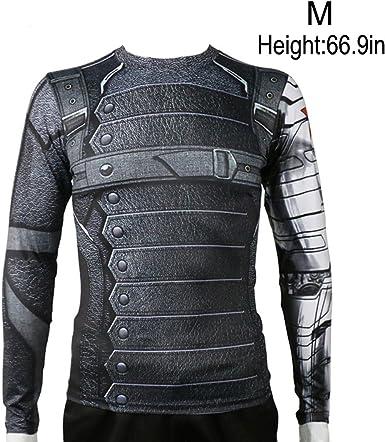Winter Soldier Long Sleeve T-Shirt Avengers Top Bucky Barnes Cosplay Costume