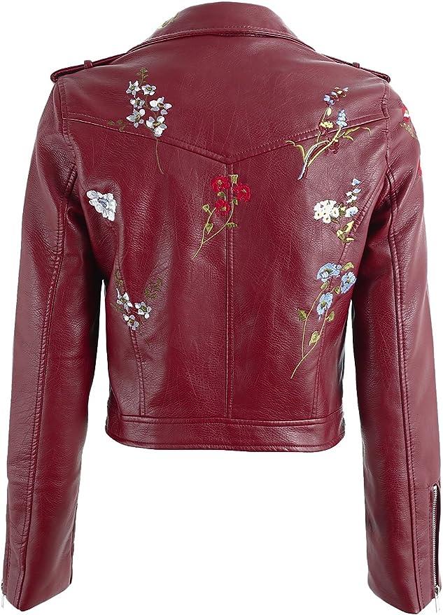 Femme Femmes Filles Floral Brodé clous et en cuir synthétique Veste de motard