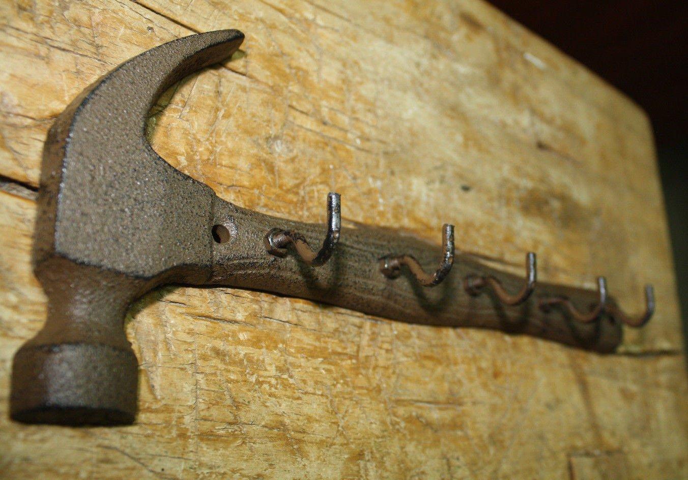 Coat Hooks Cast Iron WRENCH Towel Key Rack Tool Carpenter MAN CAVE Hat Hook