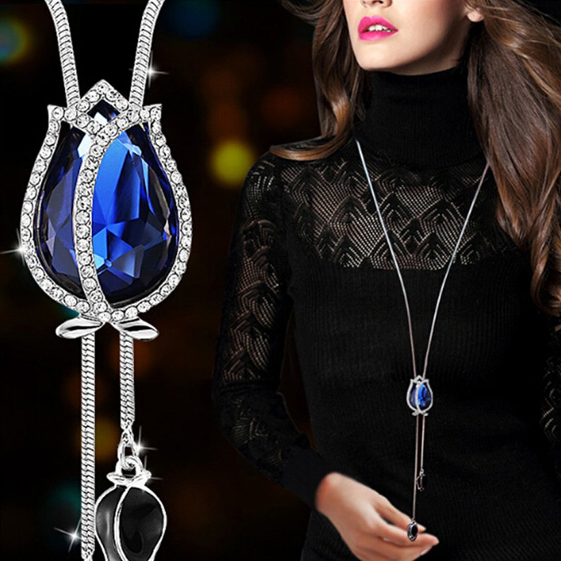 Novadab Magical Tulip Diamante Encrusted Exquisite Long Chain Necklace (Blue), Valentine\'s Day Gift For Her