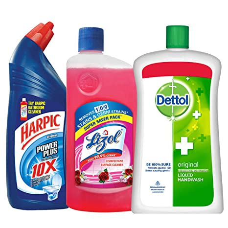 Harpic Household Cleaning Kit (Harpic - 1 L (Rose), Lizol - 975 ml (Floral), Dettol Hand Wash - 900 ml (Original)