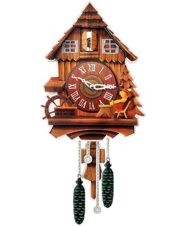 Kult AG cartón Reloj XL - Cuco Reloj Modern de cartón con 2 Naturales Tonos (desactivable, Funciona con Pilas) Vintage Pared decoración para la casa ...