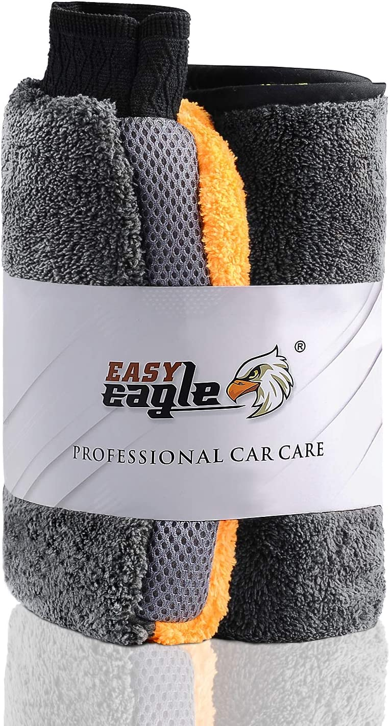 Easy Eagle Microfibre Cleaning Cloths for Car and Motorbike Care 3 Packs Cleanig and Polishing 40x40CM 1200GSM Microfiber Towels for Car Drying