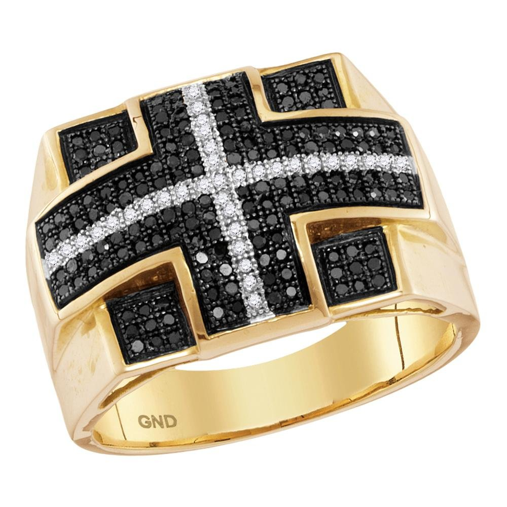10k Yellow Gold Band Mens Black Diamond Cross Ring Religious Style Round Pave Set Polished Fancy 5/8 ctw Size 11.5