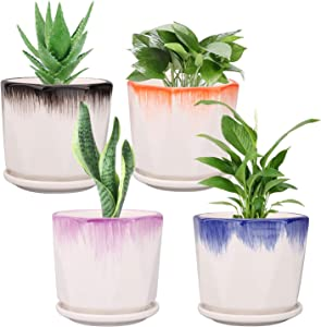 Ufrount 5.5 Inches Ceramic Planter Pot with Drainage Holes, Succulent Planter Pots Planting Pot Flower Pots for Mini Plant Perfect for Kitchen, Garden, Windowsill - Set of 4 (4 Colors)