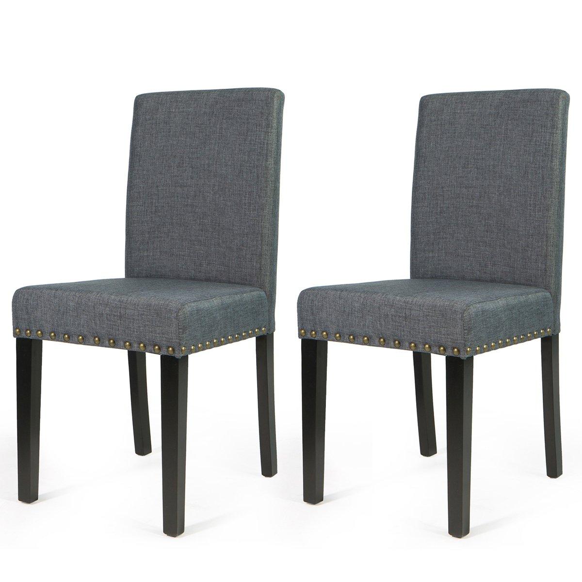 Barton Fabric Stylish Dining Chair Furniture with Nailhead Trim, Set of 2, Grey (Small)