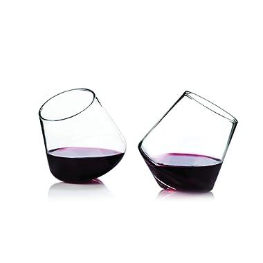 Viski 3720 Rolling Wine Glasses, Clear, Set of 2