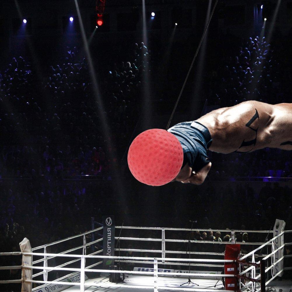 Covermason Material de Gimnasio Boxeo Pelota y Banda de Cabeza Reflejo Velocidad Formaci/ón 2PCS Rojo