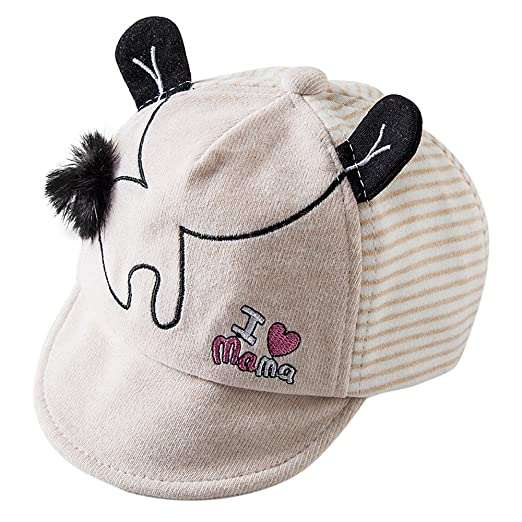 9c2d2c2ba88 Hauzet Newborn Baseball Cap Toddler Kids Little Ear Visor Baby Girl Boy  Warm Hat(Beige