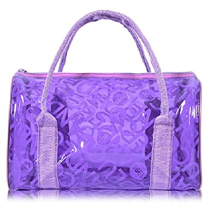 ee6710e3cc Summer Jelly Clear PVC Waterproof Beach Bag Swimming Tote Bag for Women  Girls Purple  Amazon.co.uk  Kitchen   Home