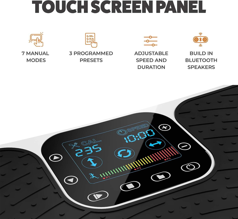 Bluetooth Speakers Wrist Remote Control 7 Vibration Modes Vibra Pro M7 Revolutionary 4D Vibration Exercise Machine 3 Motor Technology Home Gym /& Fitness Vibrating Platform for The Whole Body