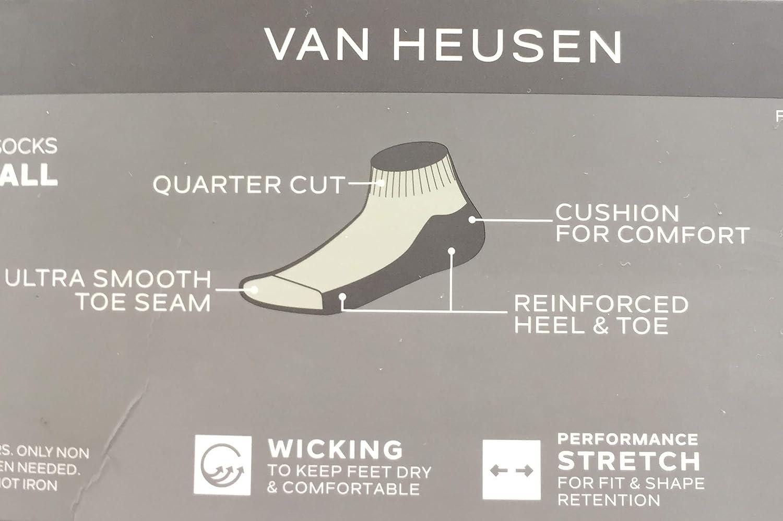 Van Heusen Mens Big /& Tall 6-Pair Package Performance Wicking Quarter Socks Extended Sizes 13-16