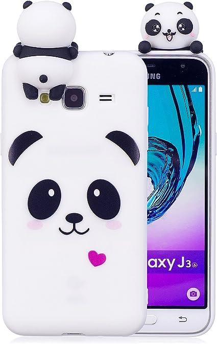 Anfire Coque Samsung J3 2016 3D Motif de Panda Souple TPU Silicone Étui de Protection Housse Anti Choc Ultra Mince Case Couverture Bumper Gel Doux ...