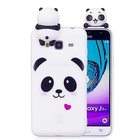 xifanzi Funda Samsung Galaxy J3 2016 3D Panda Soft Carcasa Kawaii 3D DIY Case Carcasa Goma Flexible Ultrafina TPU Bumper Panda Diseño Ultra Slim Fit ...