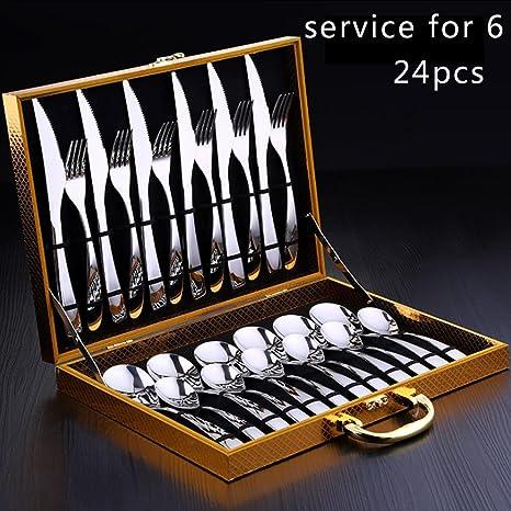 Juego de cubiertos de mesa, 24pcs vajilla de cubiertos de acero inoxidable utensilios de vajilla