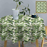 ThinkingPower Round Tablecloth Green, Palm Leaves Breadfruits Decorative Table Desk...