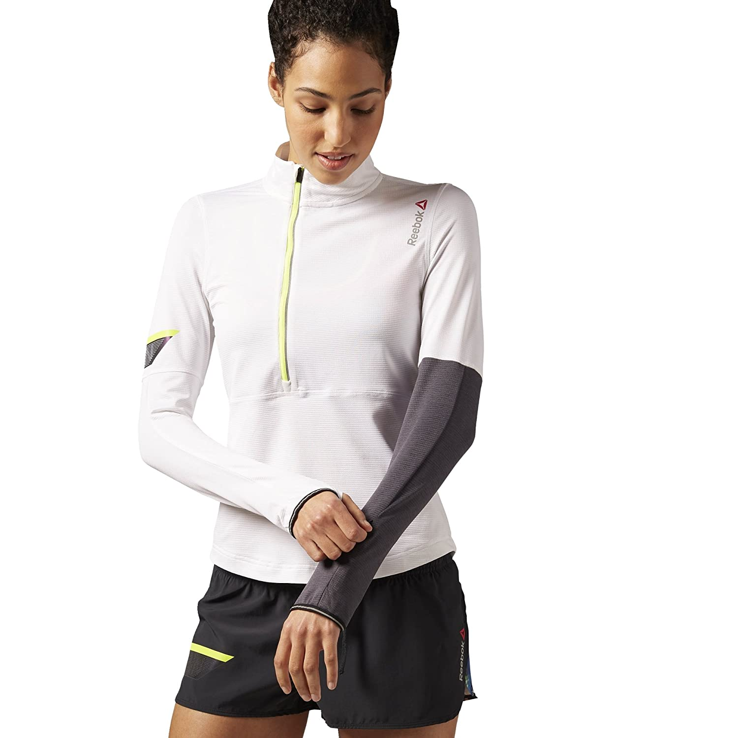 Reebok Damen Shirt ONE Series Running Long Sleeve 1/4 Zip Top