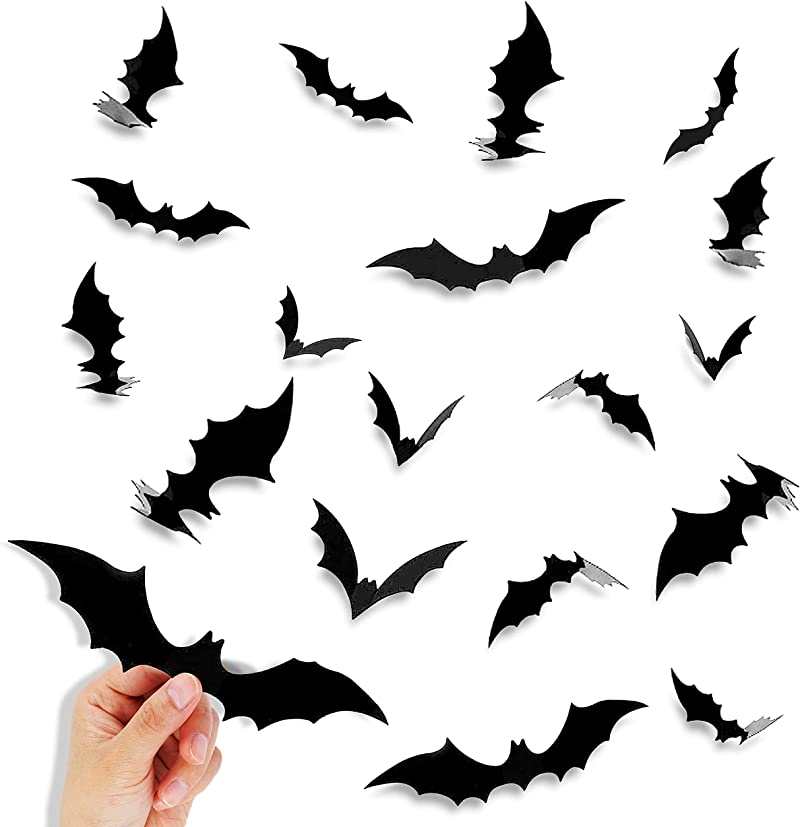 Halloween Decorations Bats Wall Decor, 80 Pcs 4 Sizes Waterproof Bats Stickers for Wall and Window, 3D Vintage Realistic Scary Bat Sticker for Halloween Party Decoration Supplies.