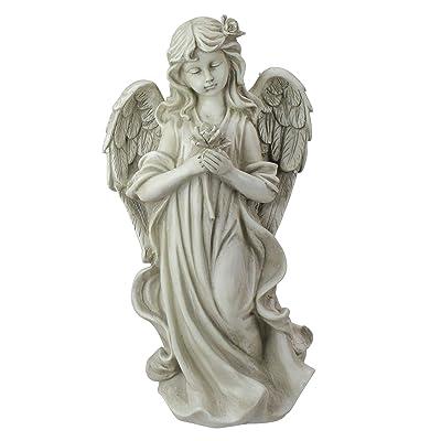 "Northlight 17"" Peaceful Angel Holding a Rose Outdoor Garden Statue : Garden & Outdoor"