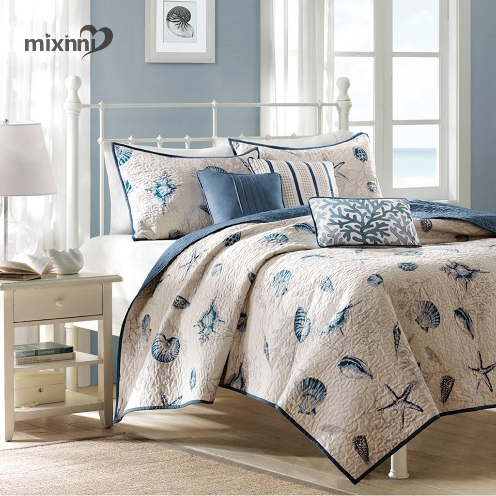 mixinni Seashell Beach Bedding Set King Size Beach Theme Quilt Set With Shams Shell Print Pattern Ocean 100% Cotton Resversible Bedspread/Patchwork quilt by mixinni