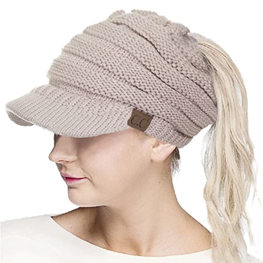 f0b39bfa2bc ScarvesMe CC Brim Beanietail Ponytail Messy Bun Solid Ribbed Beanie Hat Sun  Cap (Beige)