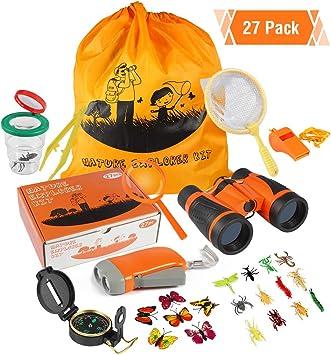 ThinkMax Kit Explorador niños, 27 Piezas Kit de Binoculares con con Linterna, brújula, Lupa, cazamariposas y Mochila para Camping y Senderismo: Amazon.es: Juguetes y juegos