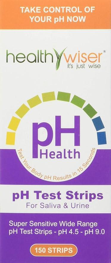 Tiras de prueba de pH Healthywiser, resultados precisos en 15 segundos + tabla de alimentos alcalinos en PDF + 21 recetas alcalinas en eBook, 150 cl ...