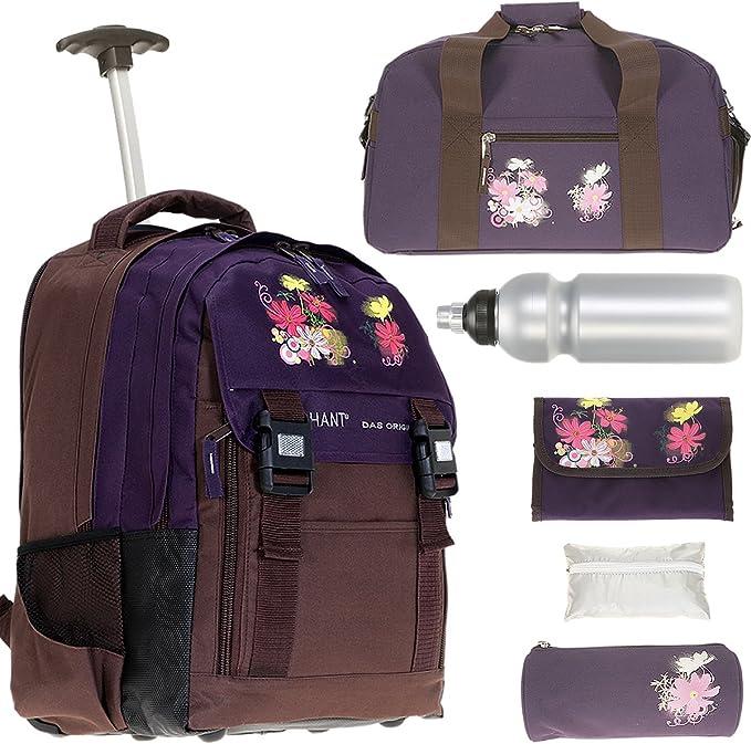 Elephant Violetta - Conjunto de mochila trolley XL, estuche escolar, bolsa de deportes, rodillo de apoyo, funda para la lluvia y cantimplora: Amazon.es: Equipaje