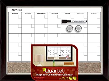 quartet magnetic combination calendar board dry erase and cork 17 x 23 inches