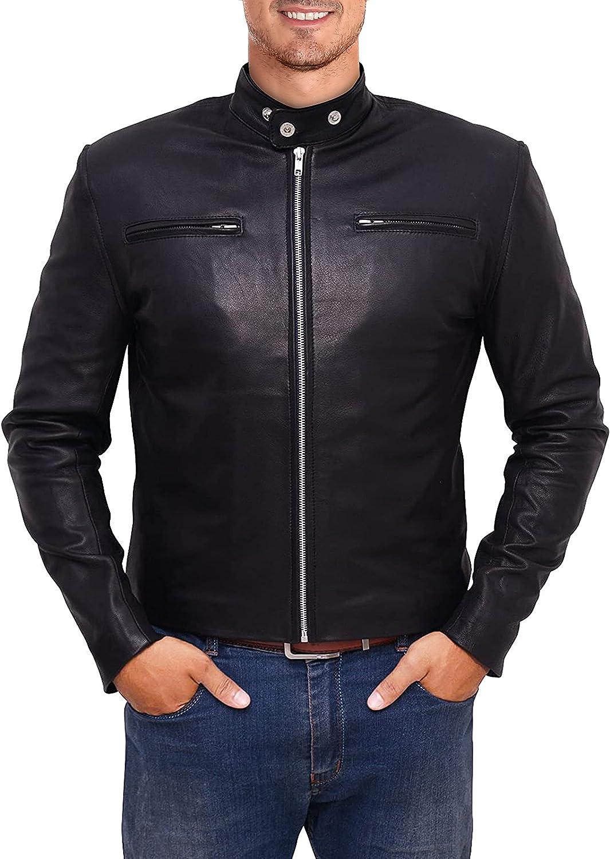Men's Motorcycle Biker Vintage Cafe Racer sheep hide Black Real Leather Jacket