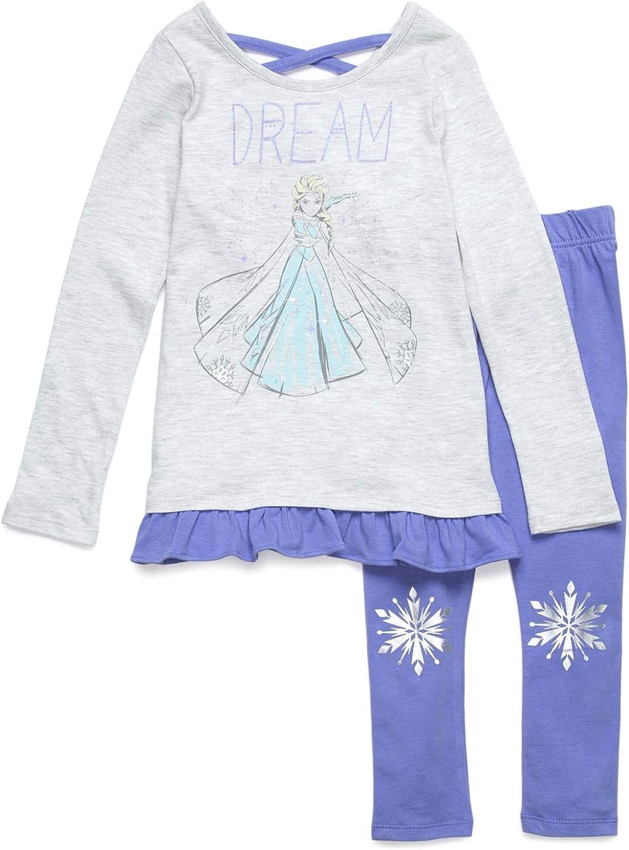 Disney Frozen Girls Long Sleeve Fleece T-Shirt /& Leggings Set