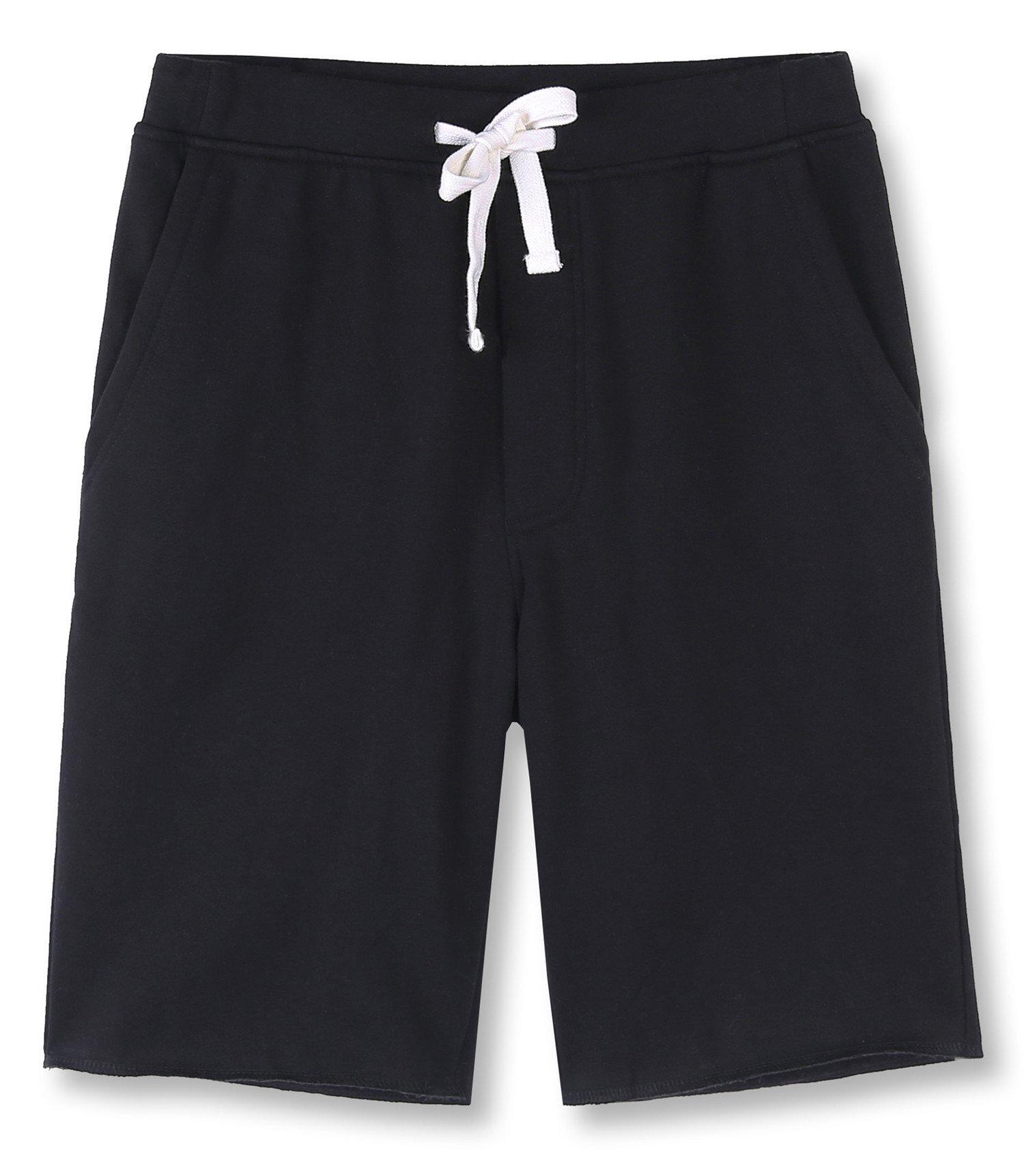 HETHCODE Men's Casual Classic Fit Cotton Elastic Fleece Jogger Gym Shorts Black M