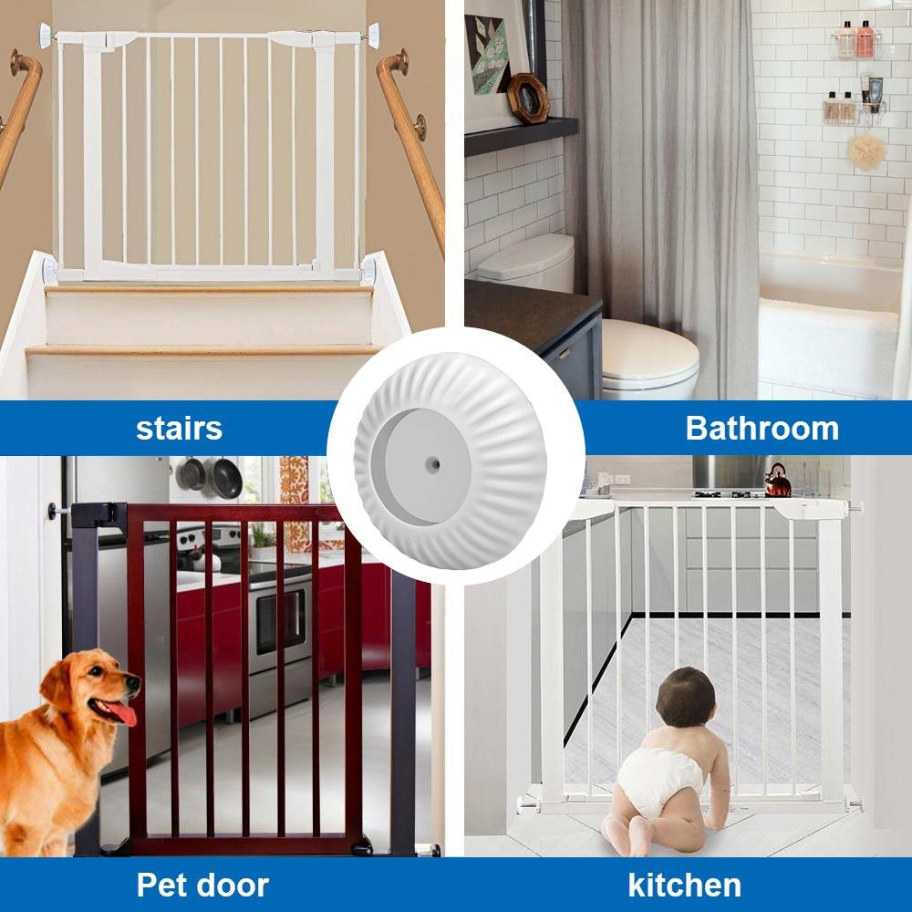 8Pack Baby Safety Wall Guard Protector, Aolvo Gates Wall Cups Fit for Bottom of Gates, Doorway, Stairs, Baseboard, Work with Dog Pet Child Kid Pressure Mounted Gates by Aolvo (Image #2)