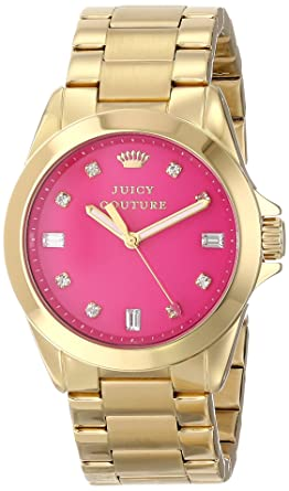 Juicy Couture Womens 1901108 Stella Hot Pink Jewel Toned Dial Watch