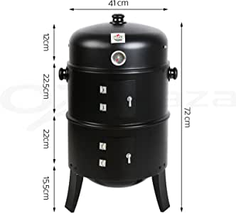 GRILLZ 3in1 Charcoal Smoker BBQ Grill Roaster Portable Steel Steamer