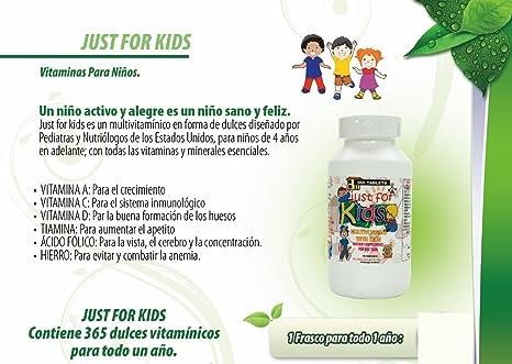 Amazon.com: Vitaminas para niños Just for Kids. Suplemento para todo un año.Vitaminas y Minerales para el crecimiento, memoria y apetito en forma de dulce ...