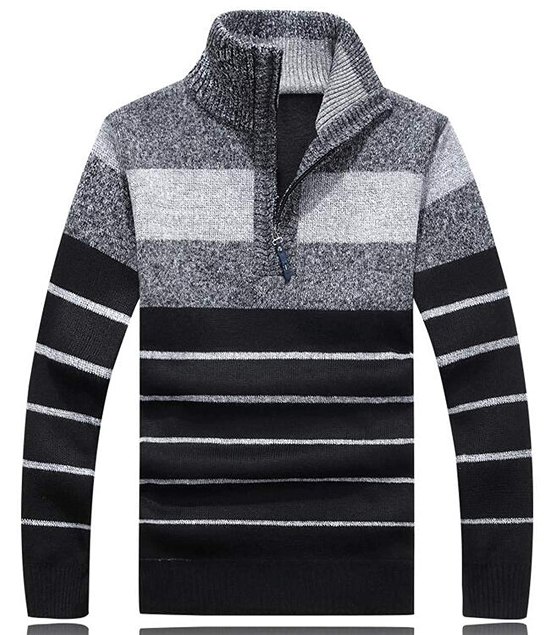 WNSY Men Pullover Turtel Neck Half Zip Striped Patchwork Slim Fit Knit Sweater