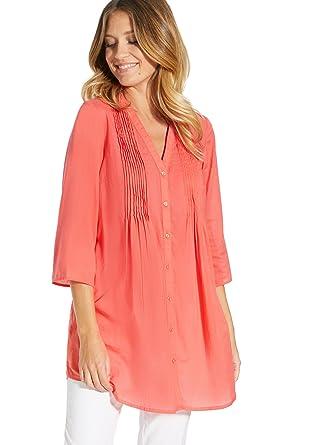 88f995614838 Balsamik Chemisier-Tunique Uni - Femme - Taille   38 - Couleur   Corail