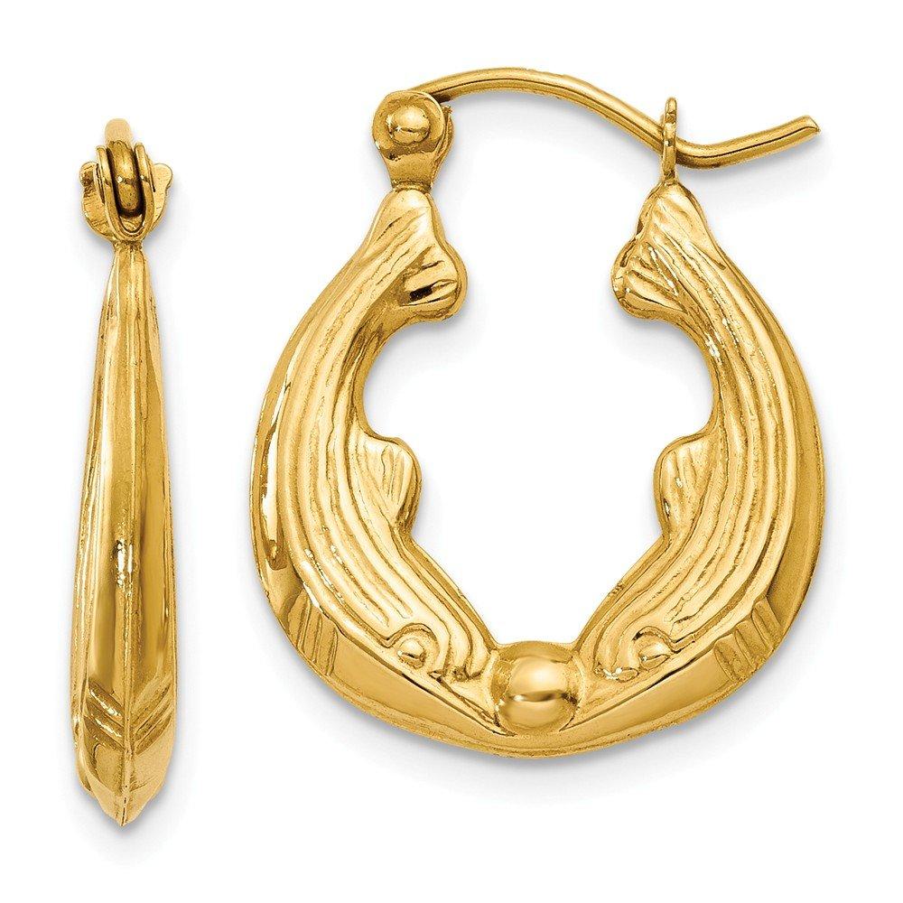 Mia Diamonds 14k Yellow Gold Dolphin Hoop Earrings