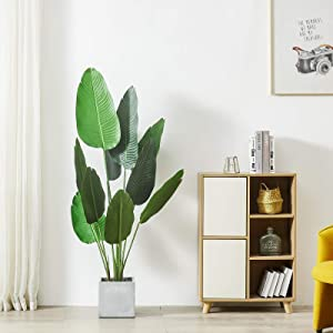 Cozy Castle 62in Artificial Bird of Paradise Palm Tree, 10 Leaves Fake Travelers Palm Tree, Evergreen Faux Plants, 5-Feet Fake Tree, Fake Banana Leaf Plant with Pot for Living Room, Farmhouse, Office