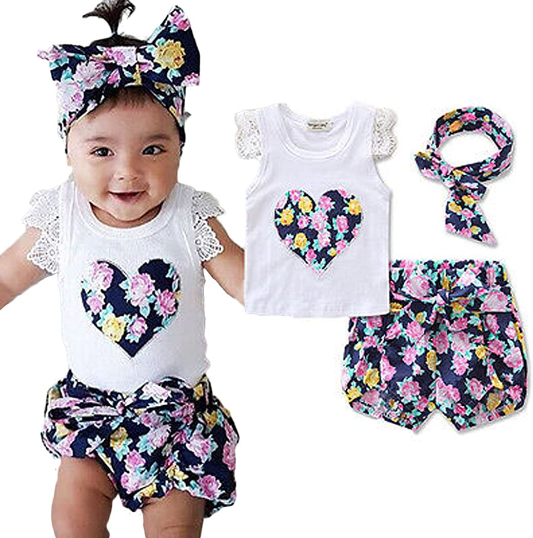Shorts Clothes Set DITTMURI Baby Girls 3pcs Floral Outfit Headband Vest Top