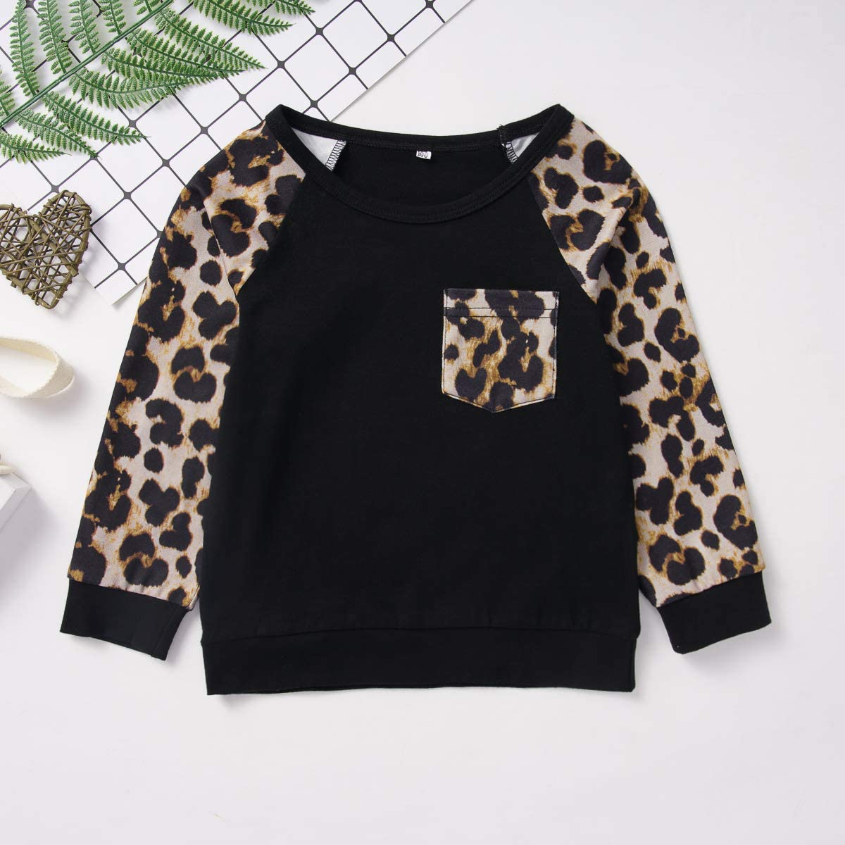 YOUNGER STAR Toddler Baby Girls Boys Leopard Print Sweatshirt Outfit Splicing Casual Pullover Shirt Fall Winter Clothes 1-5 T