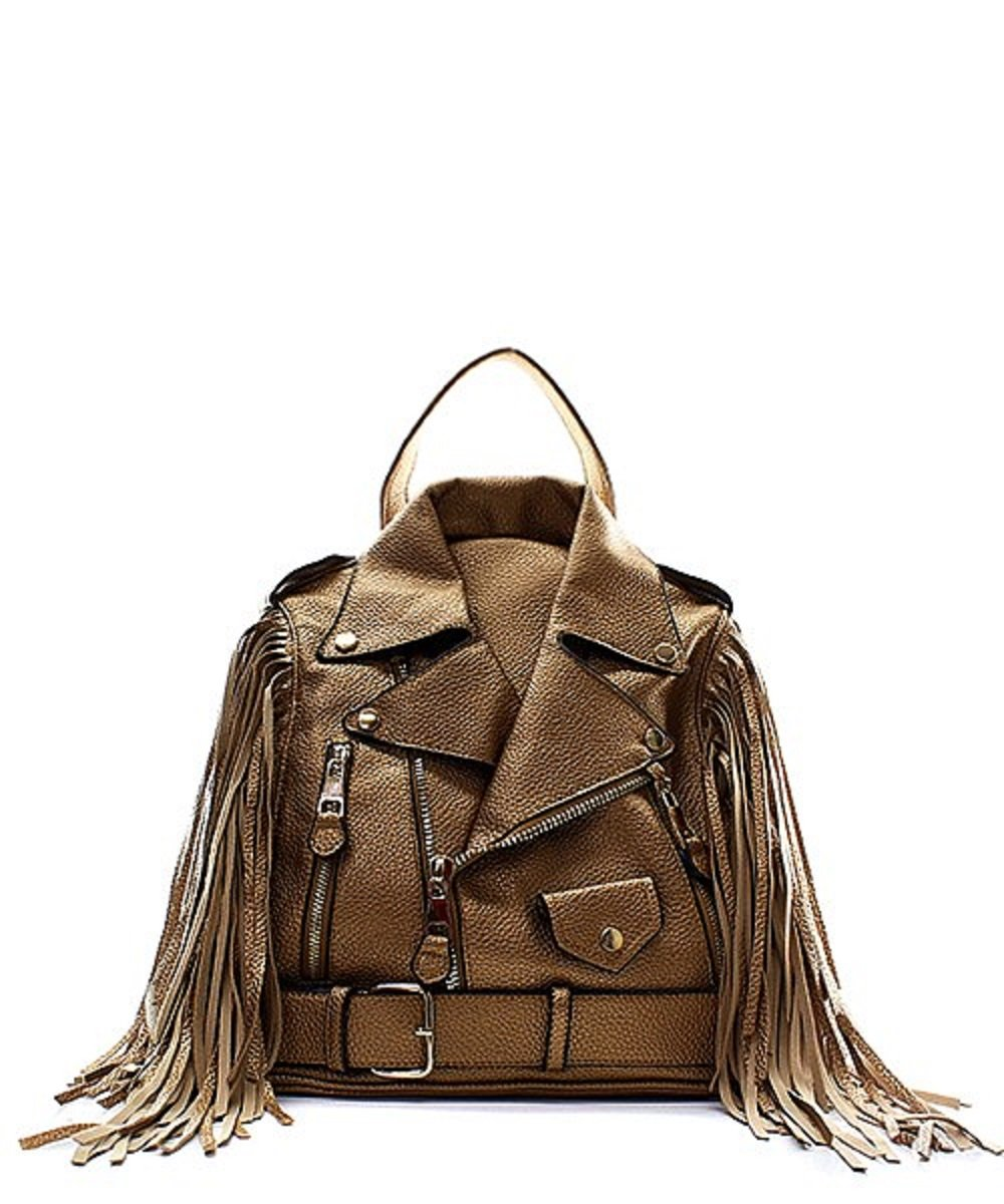 Vegan Faux Leather Fringe Jacket Backpack Handbag (Rose Gold)