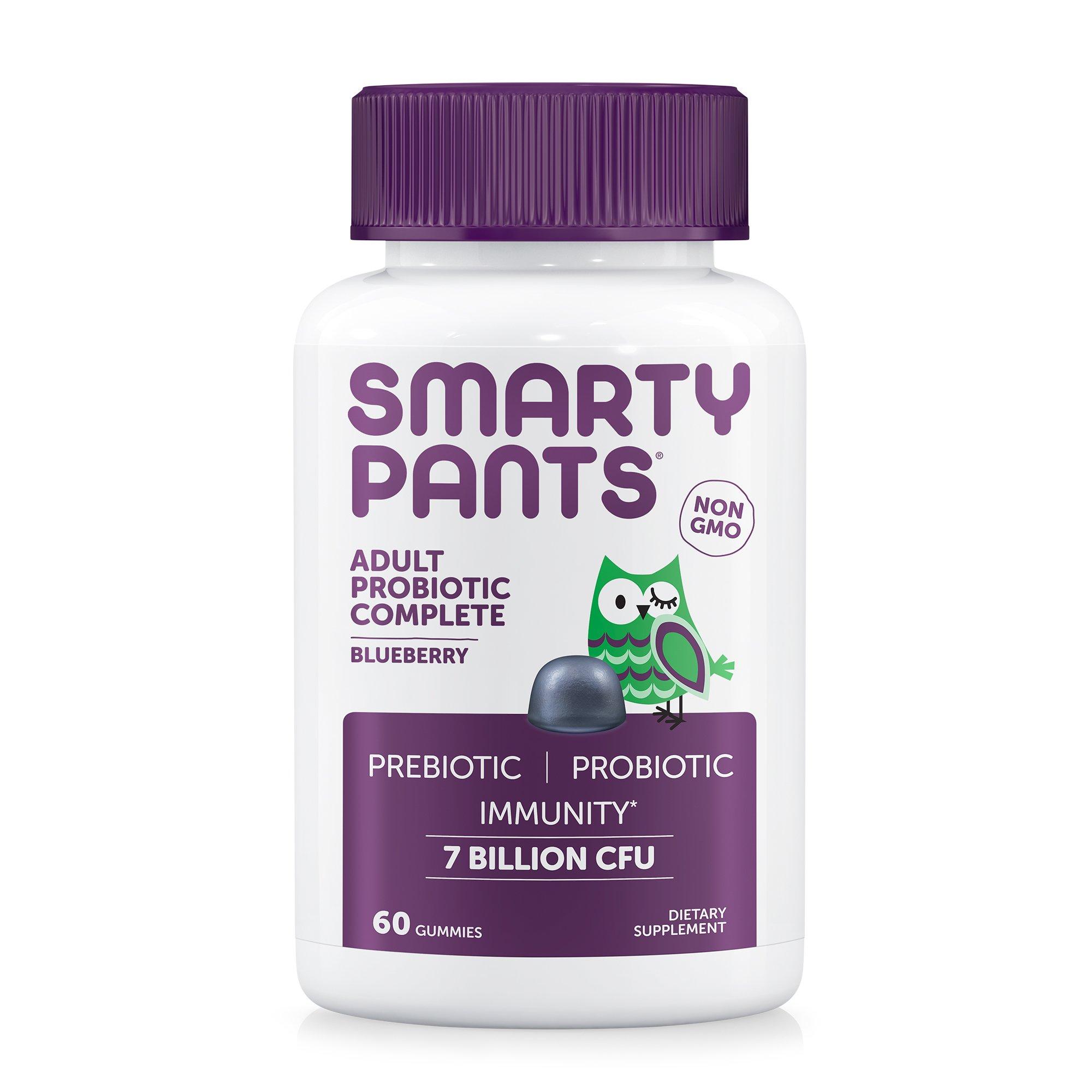 SmartyPants Adult Probiotic Complete; Probiotics & Prebiotics; Digestive & Immune Support* Gummies; 7 billion CFU, VEGAN, NON-GMO, NO REFRIGERATION REQUIRED, Blueberry Flavor, 60 Count, 30 Day Supply