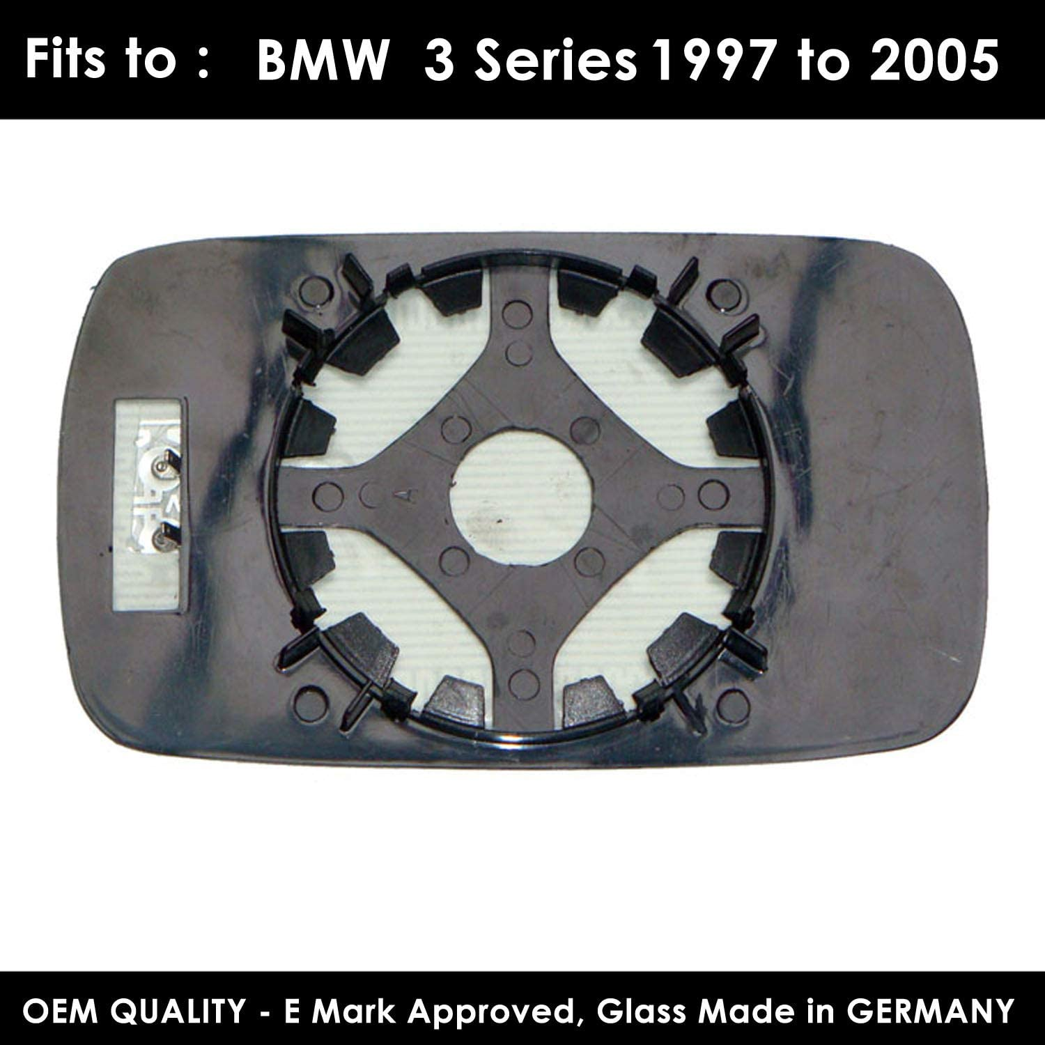 TWMC-3S 1997 to 2005 Heated Door Wing Mirror Glass Including Base Plate LH Passenger Side
