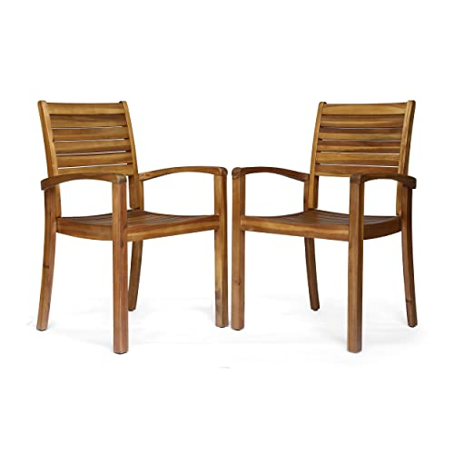 Christopher Knight Home 306431 Watts Outdoor Acacia Wood Dining Chairs, Teak Finish Set of 2