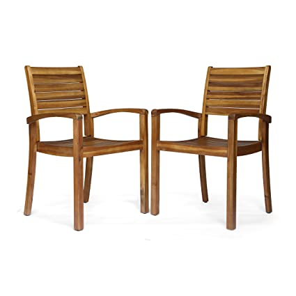 Magnificent Christopher Knight Home 306431 Watts Outdoor Acacia Wood Dining Chairs Teak Finish Set Of 2 Lamtechconsult Wood Chair Design Ideas Lamtechconsultcom