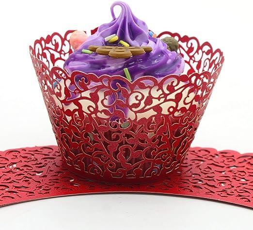 50pcs Little Vine Lace Laser Cut Cupcake Wrapper Liner Baking Cup Party Decor S