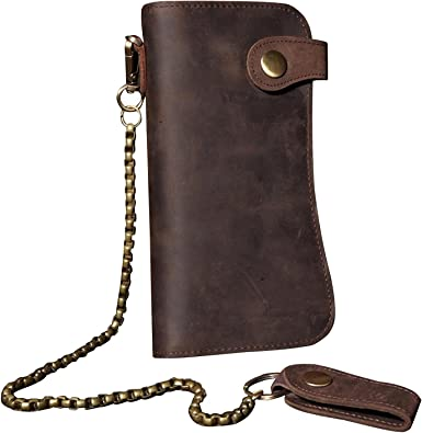 Amazon Com Mens Wallet With Chain Leather Long Bifold Trucker Wallet Vintage Biker Money Clip With Zipper Brown W Iron Chain