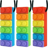 Panny & Mody Sensory Chew Necklaces Block Chewelry for Boys and Girls(3 Pack), Silicone Rainbow Bricks Pendant Chewy…